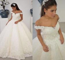 Floral Appliques Off Shoulder A-Line Wedding Dresses Plus Size Bridal Gown