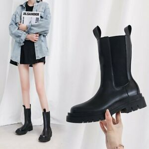 Womens Korean Fashion Round Toe Mid Calf Knight Boots Casual Pull On Punk Shoes