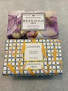 Set 2 Beekman 1802 Goat Milk Soap Bar Lavender & Lilac Dream 9 oz Large