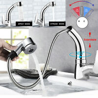 Kitchen Sink Faucet Pull Out Down Swivel Brushed Handle Mixer Tap With Sprayer