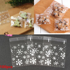 100PCS Christmas White Snowflake Cellophane Party Favour Cookie Sweet Gift Bags