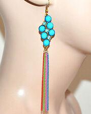 ORECCHINI donna fili pendenti pietre strass oro azzurro turchese bijoux F289