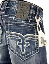 """$220 Mens Rock Revival Jeans """"Curtis"""" Leather Inserts Boot Cut 38 X 33"""