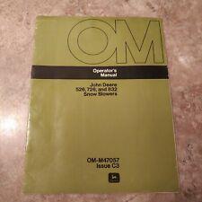 John Deere 526, 726, And 832 Snow Blowers Operators Manual OMM47057