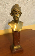 """Paul Aichele Bronze Bust of Lady on Marble Pedestal 13"""" German 1900 - Signed"""