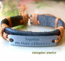 """""""Together We Make a Difference"""" Leather Hemp Fashion Surfer Character Bracelet"""