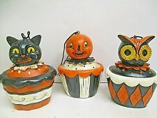 "Set of 3 Halloween Cupcake Owl Cat JOL Ornaments - Halloween Decor 3.5"" tall"