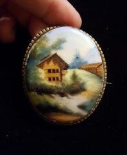 UNUSUAL Antique Handpainted Porcelain Pin Brooch, EUROPEAN(?) LANDSCAPE & CABINS