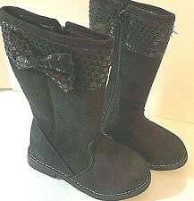 Gymboree Girls Boots Size 9 Black Suede Sequin Top Bow New