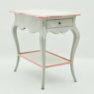 Acacia French Style Grey & Pink Painted Solid Mahogany Wooden Side Table