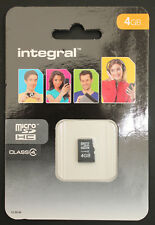 Integral 4GB Class 4 Micro SDHC Memory Card - New In Sealed Pack