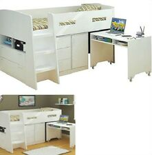 JUPITER KING SINGLE CABIN BUNK BED LOFT MIDI SLEEPER DESK DRAWERS IN WHITE