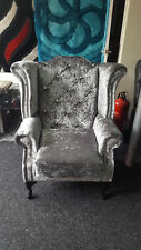 Chesterfield Queen Anne Wingback Chair with diamonte in Grey