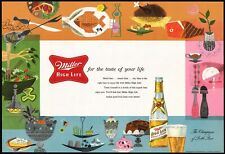 Vintage placemat Miller High Life beer bottle pictured 1956 new old stock n-mint