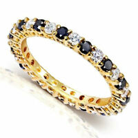 Eternity Gold CZ Cute Ring .925 Sterling Silver Stackable Band Sizes 6-7-8-9 NEW