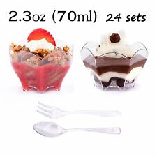 Small Plastic Cups with Spoons by Petits Desserts for Desserts Appetizers Parfai