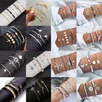 Fashion Boho Women Wristband Bangle Jewelry Set Crystal Beaded Chain Bracelets