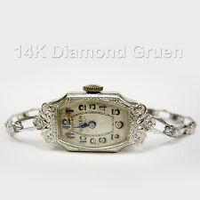 Art Deco 14k White Gold Diamond Ladies Wind Up Working Gruen Watch Limited Ed.