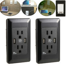 2X 110V Dual USB Port Wall Socket Charger AC Power Receptacle Outlet Plate Panel
