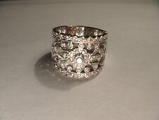 Magnificent Estate 18K White Gold Ornate Diamond Wedding Band Ring