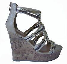 Beige Gold Gladiator Strappy Open Toe Platform Wedge Heels Sandals Shoes 7.5