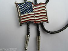 Bolo tie USA stars and stripes design country and western or rock and roll wear