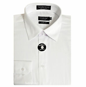 New Milani men/'s regular dress shirt cotton blend long sleeve formal White