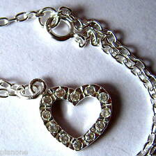 "Sterling Silver .925 Cubic Zirconia Heart Charm Anklet 9"" - 10"" with Extender"