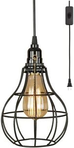 Pull Chain Light Fixture Pendant Vintage Industrial Plug In Black Hanging Cage