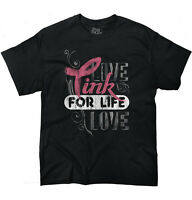 Pink For Life Breast Cancer Awareness BCA Live Love Gift Ladies T Shirt Tee