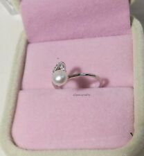 Genuine 6mm Freshwater pearl in silver love heart Ring 5-6.5 range adjustment