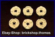 Lego 6 x Platte rund beige - 4032 - Plate Round 2 x 2 Axle Hole Tan - NEU / NEW
