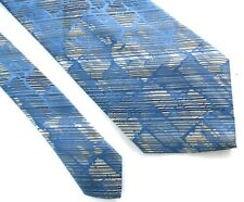 Wembley Wide Light Blue & Silver Polyester Suit Tie for Blue Black or Grey Suits