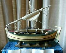 More details for vintage model fishing boat. circa 14.5 x 4.5 inches. good condition.