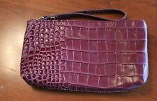 In Pell Purple Faux Croc Italian Leather Wristlet/Clutch Purse Bag - Italy
