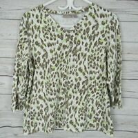 Chicos 2 Top Womens White Brown Green Animal Print V Neck