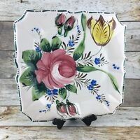"MAXIM Square Floral12"" Ceramic Pink Yellow  Hand Painted Italy Serving Platter"