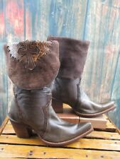 Ladies Corral Vintage Cross Brown Snake Leather Pointed Toe Western Boots sz:7 M