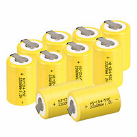 10pc 4/5 Sub C SC 1.2V 2200mAh Ni-Cd NiCd Rechargeable Batteries With Tap,Yellow