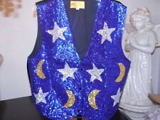 SEQUIN STAR AND MOON VEST MAGICIAN GLITTERING STARS ASTROLOGY COSTUME  BLUE  XL