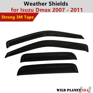 Weather shields fit ISUZU D-MAX Dual Cab 08-12 model Holden Rodeo Colorado Tinte