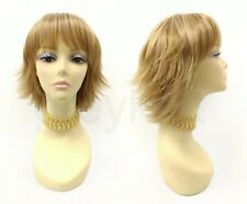 """Strawberry Blonde with Highlights Short Shag Layered Wig with Bangs 10"""""""