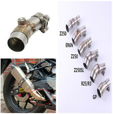 ER6N Stainless Steel Motorcycle Exhaust Pipe Muffler Link Pipe With Clamp Set