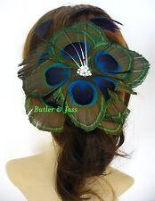 New Peacock Diamante Feather Hair Clip Fascinator Handmade in UK 'Xanthe'