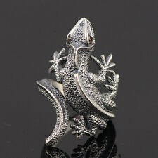 Mens Womens 925 Sterling Silver Ring lizard Red Zircon Jewelry Open Size 7 to 11