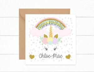 Personalised Girls Birthday Card Unicorn Head Rainbow Daughter Granddaughter