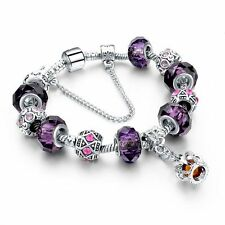 Silver Glass Beads Bracelet With Purple Crystal European Charms Fit Women C