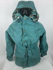 Vintage Woolrich Womans Coat Sz S Sm Green Hooded Wool Blanket Lined Barn Chore