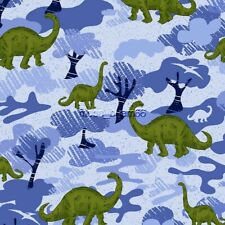Dino Dinosaur blue Camo Cotton Flannel Fabric By The Yard BTY