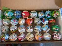Lot of 28 Vintage Satin & Glass Ball Ornaments Hallmark- Snoopy Disney Muppets